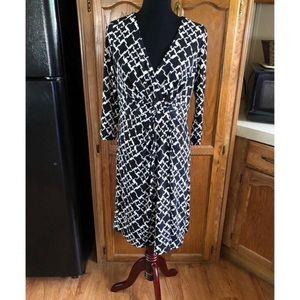 WHBM Front Drape Black and White Dress Size 12